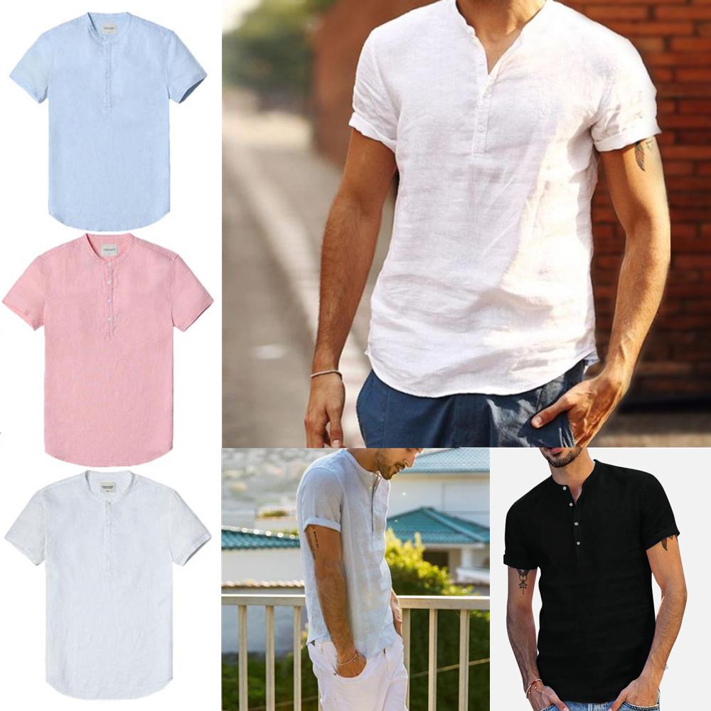Mens Short Sleeve Linen Shirt Summer Causal Holiday Baggy Henley Tops Blouse US