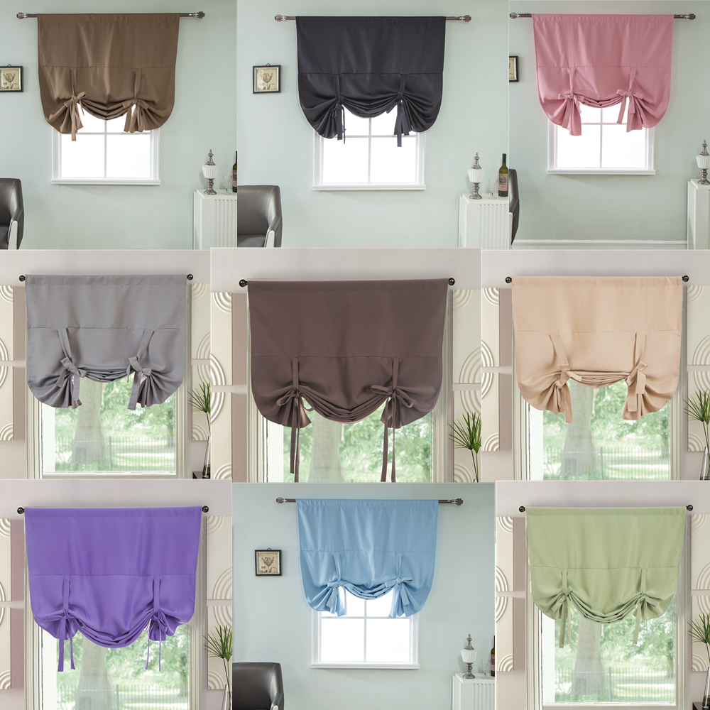 Tie Up Shades Short Blackout Curtains