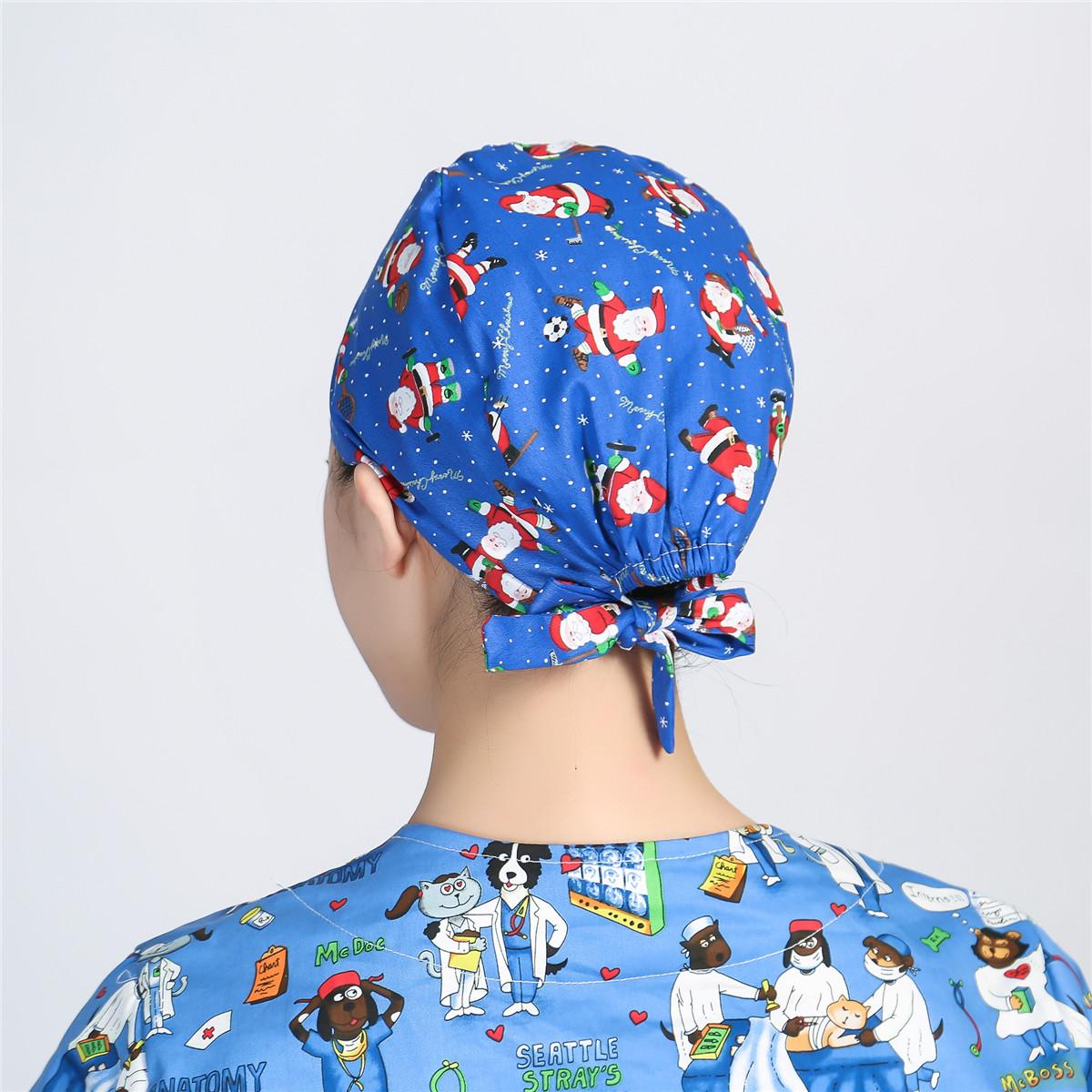 Unisex Scrub Cap Adjustable Doctor Nurse Workwear Printing Hat Heart Button Hat