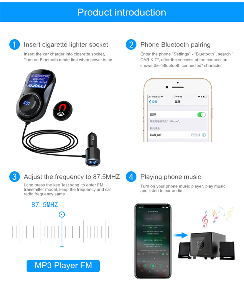 Bluetooth FM Transmitter Car Charger Air Vent Mount Phone Holder TF MP3 Player
