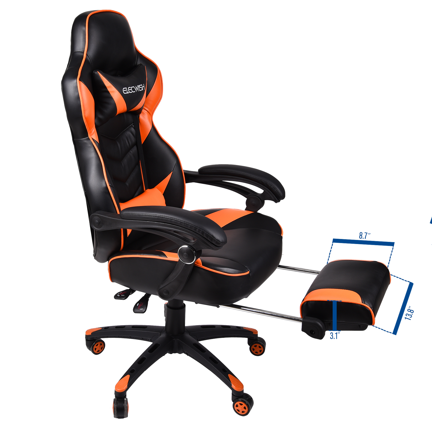 Details about Office Gaming Chair Racing Ergonomic PU Leather High Back  Computer Seat Orange
