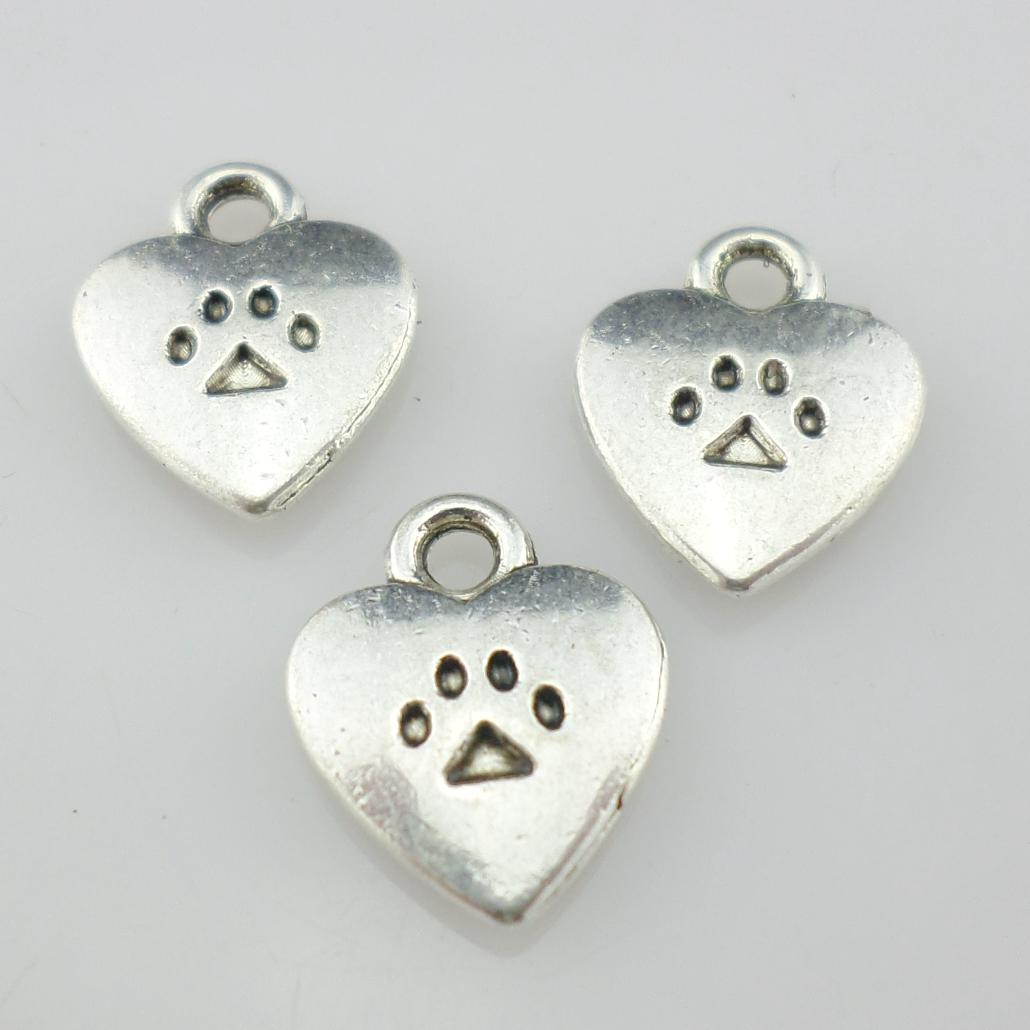 30//60pcs Tibetan Silver Dog Cat Paw Print Charms Heart Pendants 9x11mm