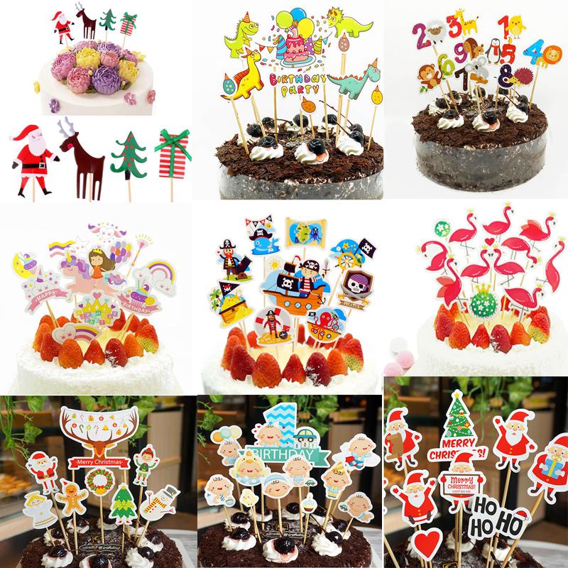 100x Christmas Cake Topper Children Kids Birthday Cupcake Cake Picks Decor