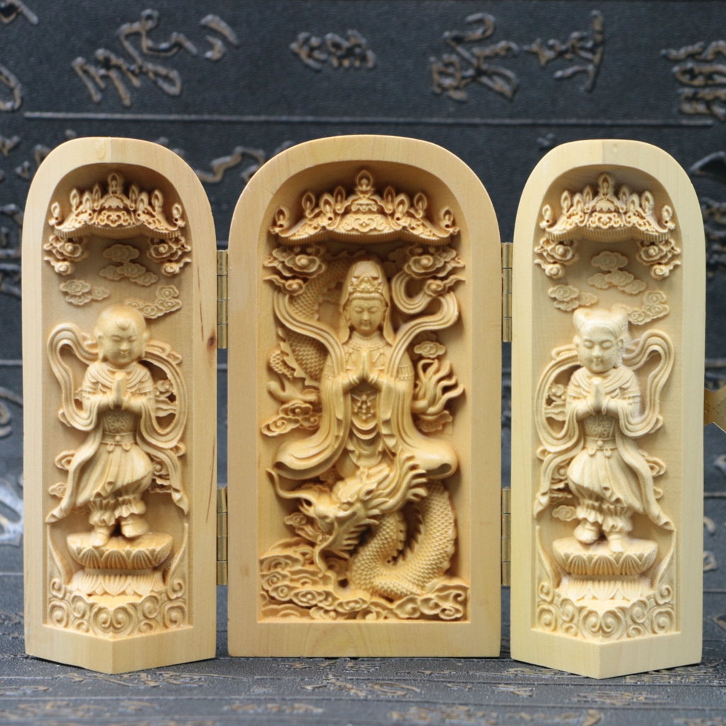 Chinese boxwood handmade carved three dragon kwan yin open box sk03