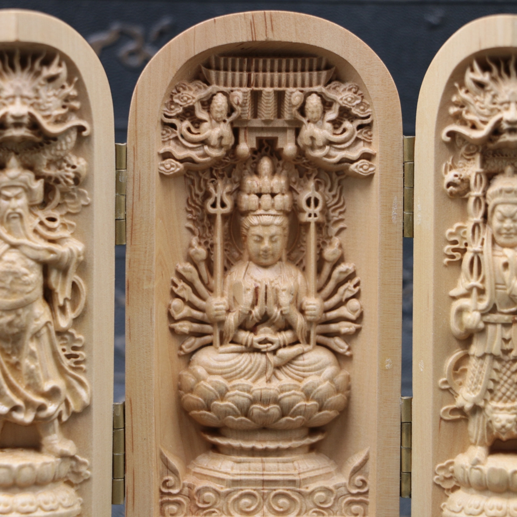 Chinese boxwood handmade carved three thousand hand kwan yin open