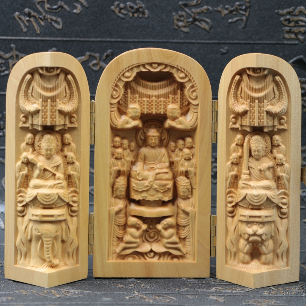 Chinese boxwood handmade carved three saints open box sk08 a ebay