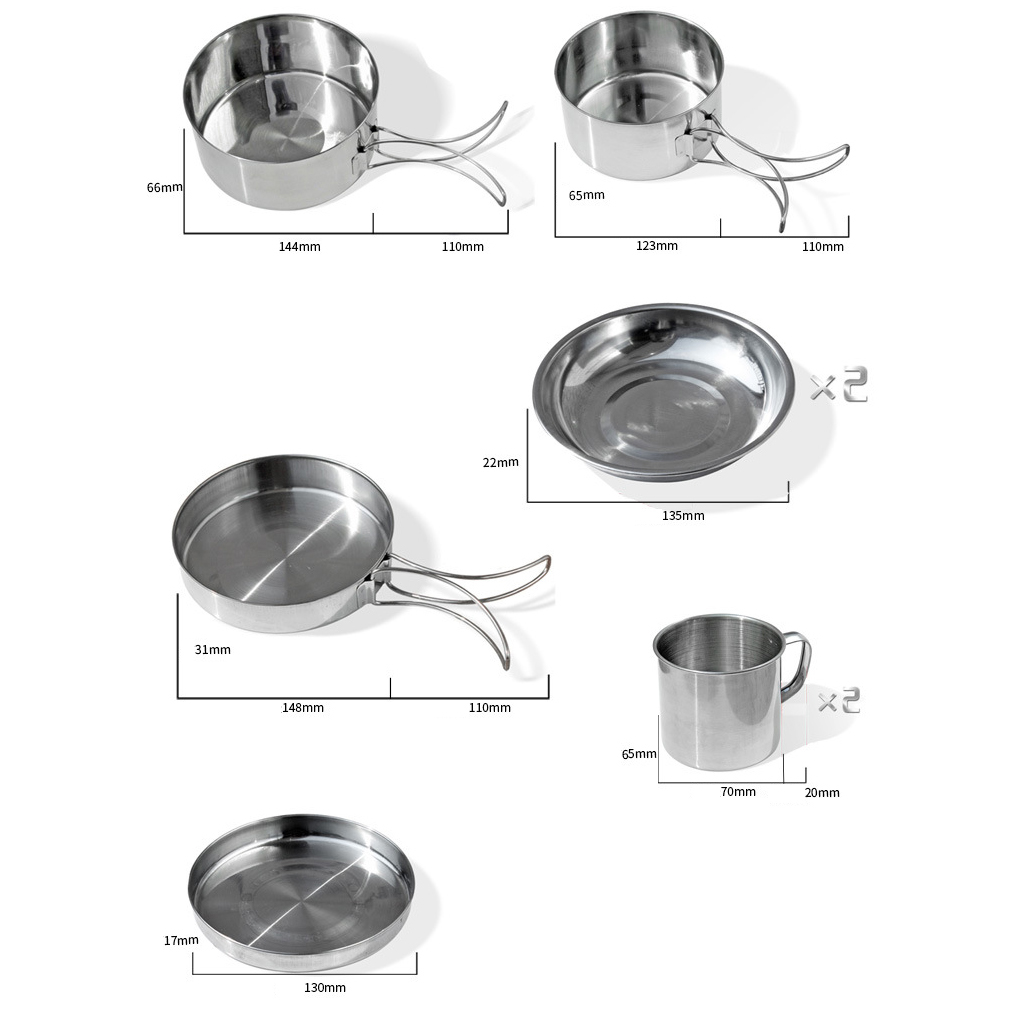 8pc 410 Stainless Steel Outdoor Camping Cook Set Cookware Picnic Pot Fry Pan Cup