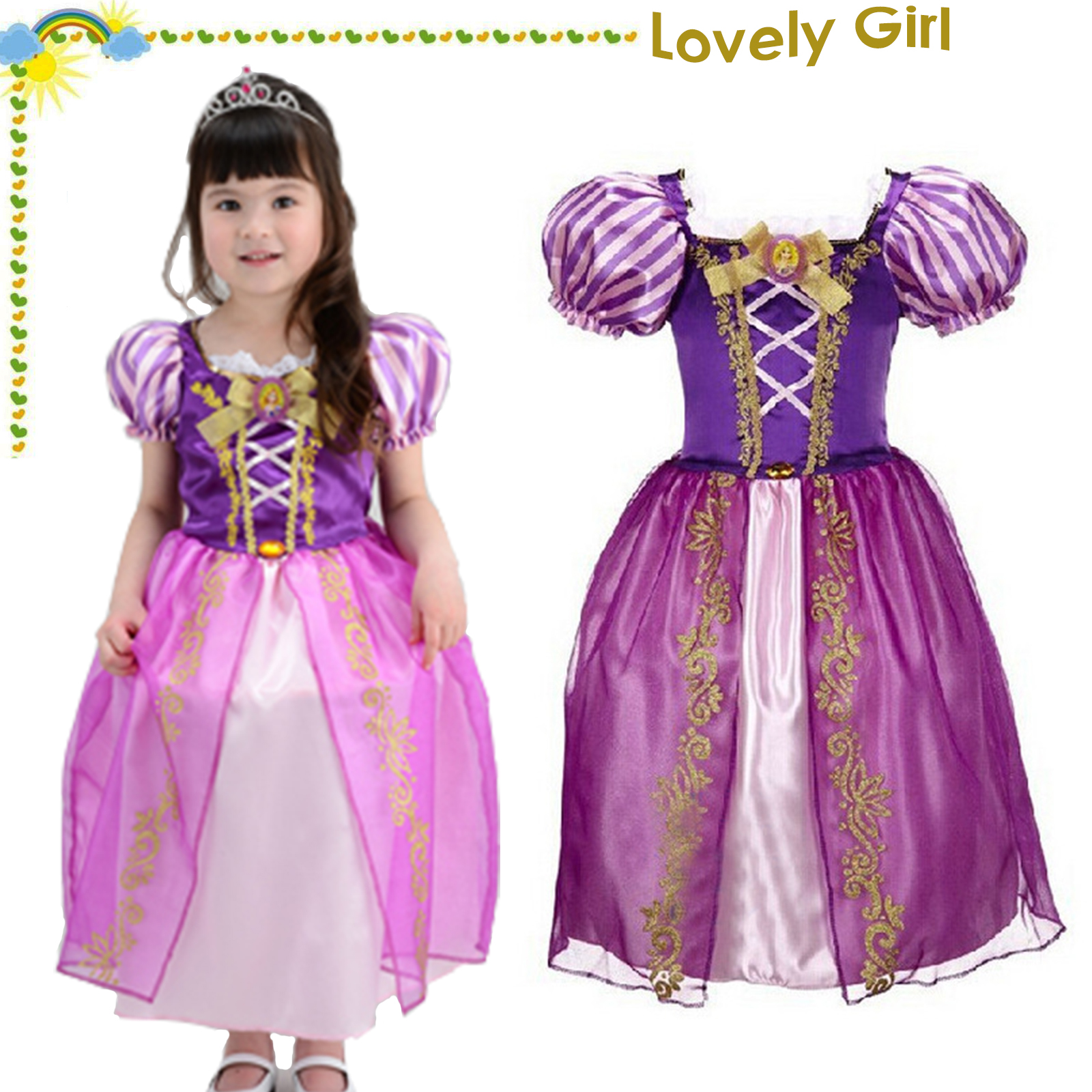 78bd516e74bd Girls Rapunzel Fancy Dress Tangled Classic Princess Cosplay Costume Party  Outfit