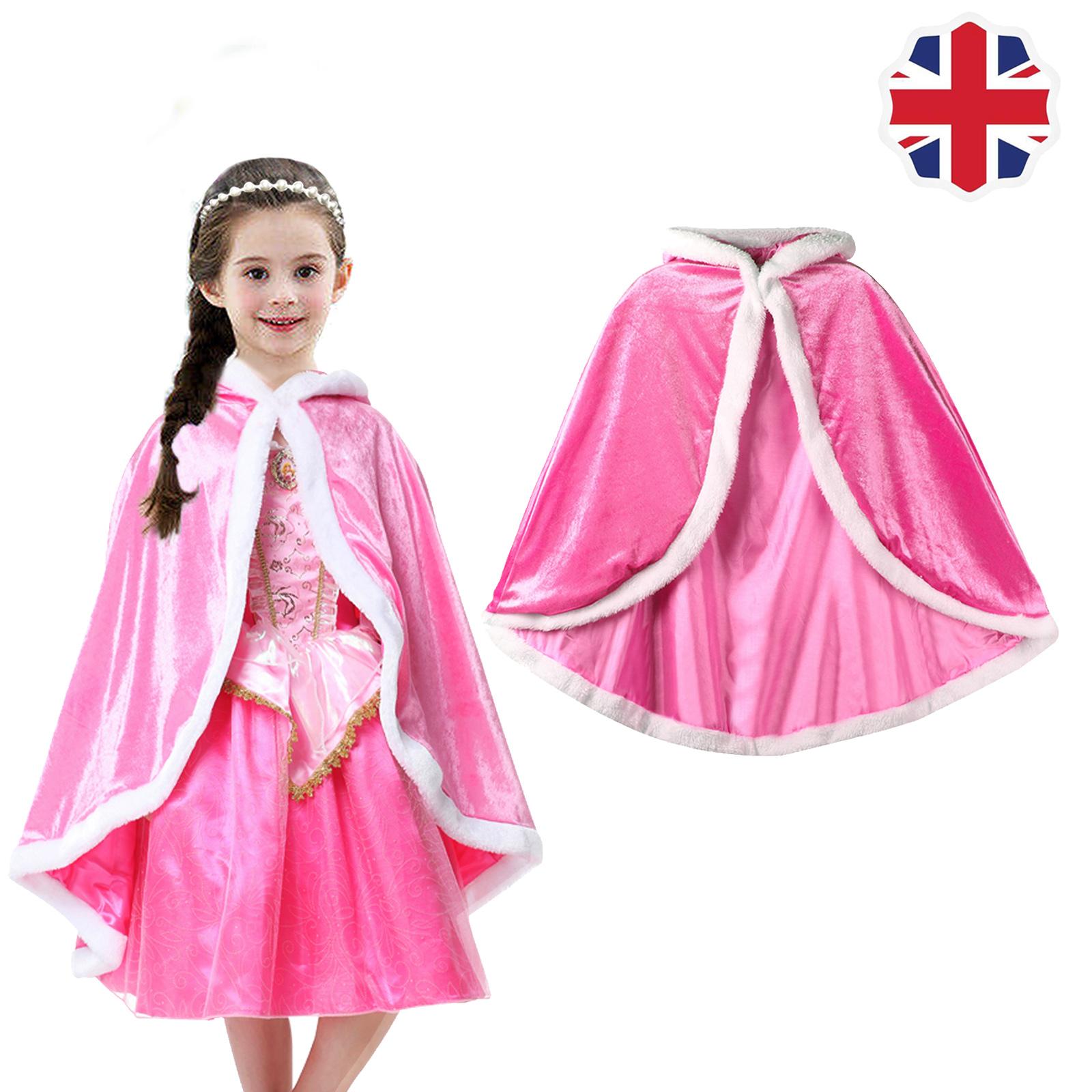Kids Girls Cape Hooded Cloak Coat for Frozen Elsa Anna Little Hood Fancy Dress