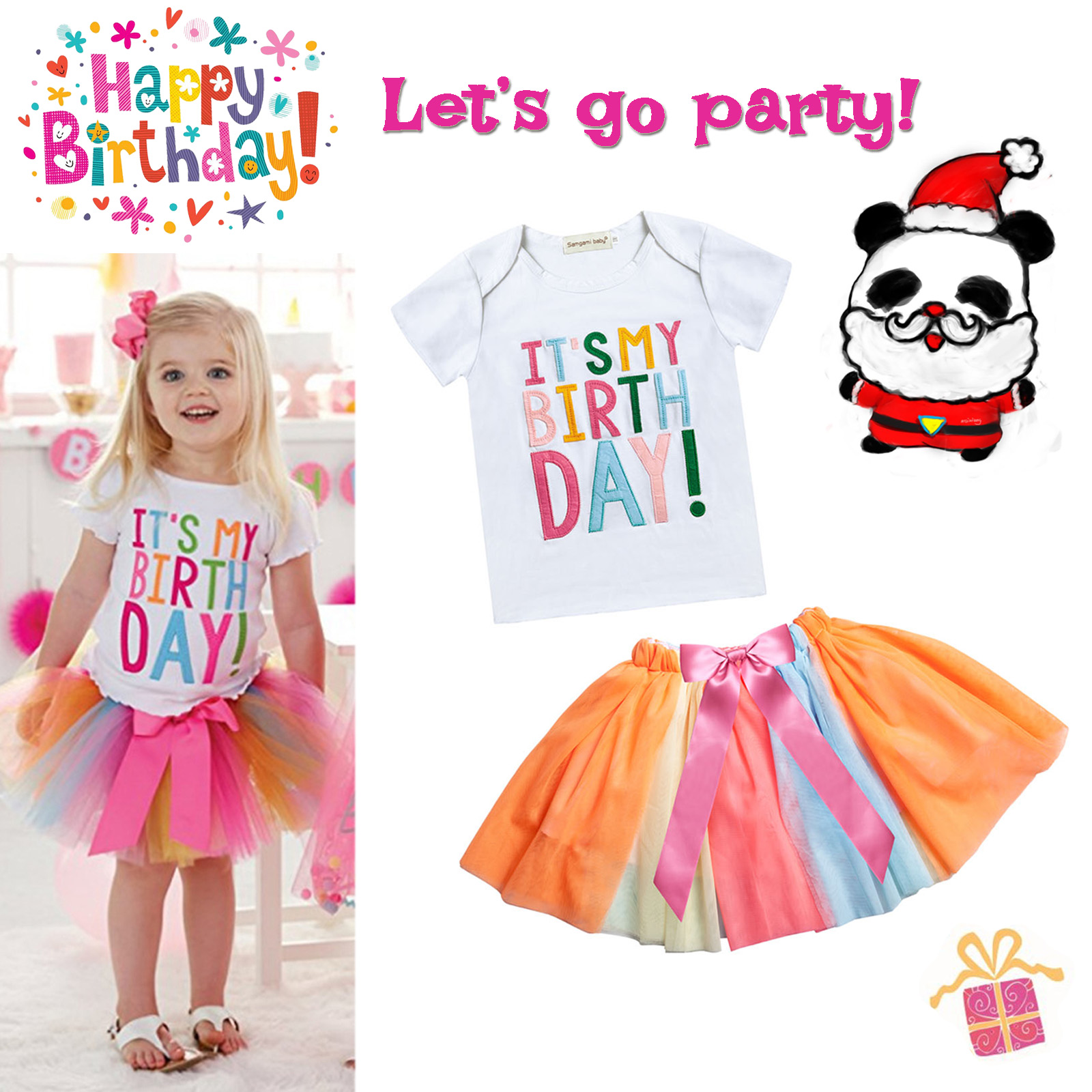 Details About Kids Girls Its My Birthday T Shirt Tutu Skirt Baby Toddlers Colourful Dress Set
