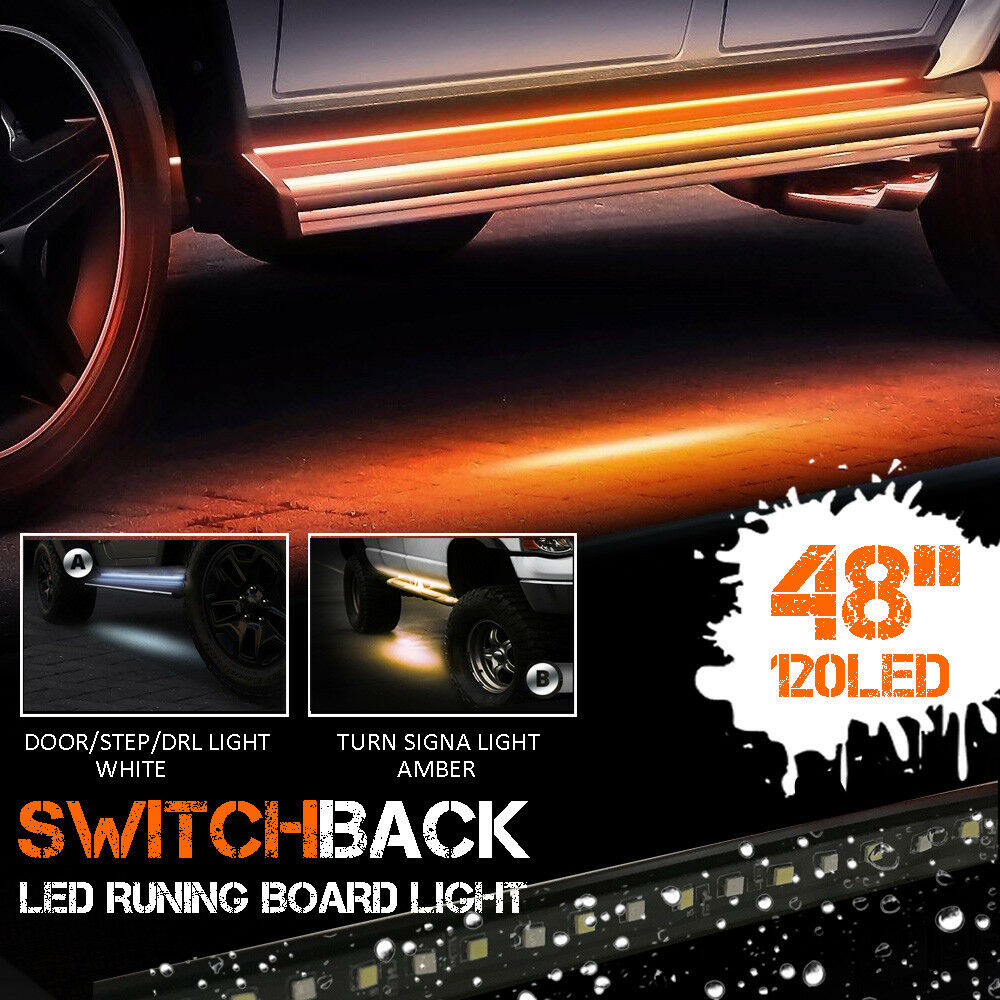 Details About 2x 48 White Amber Led Strips Running Board Step Lights For Trucks Suv Universal