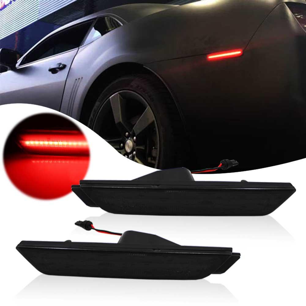 Black Lens Rear Side Marker Reflector Red Led Lights For