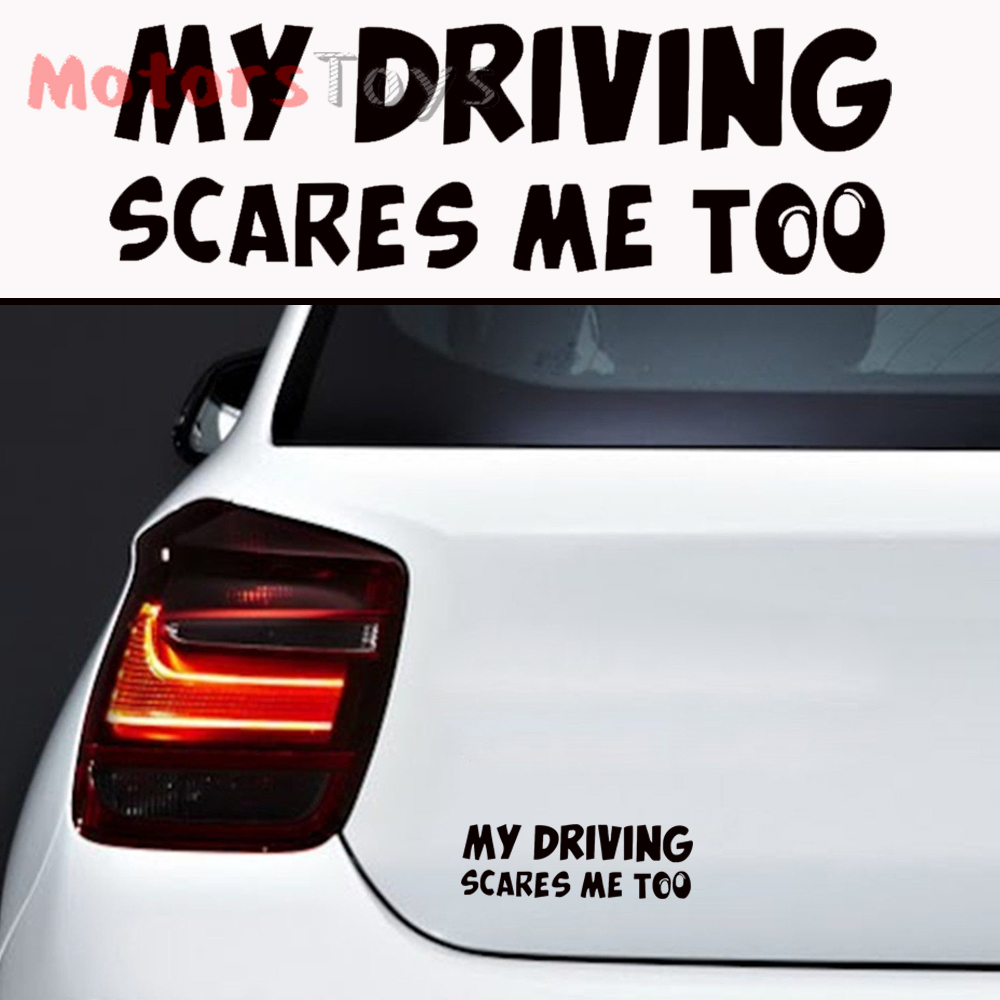 Details about 1pc jdm funny joke my driving scares me too hellaflush vinyl car sticker decal
