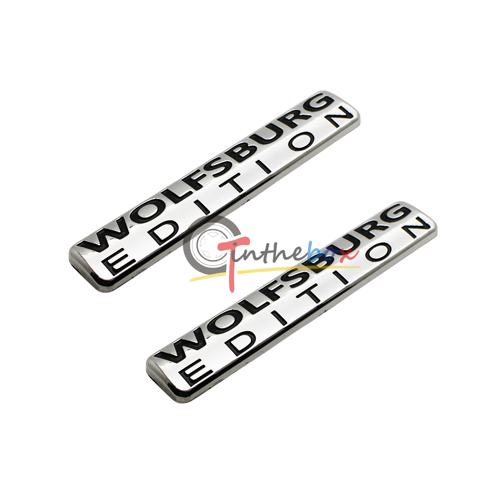 2pcs wolfsburg edition emblem abs chrome badges for vw