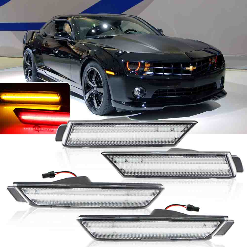 Clean Lens Front Amber Rear Red LED Side Marker Light Kit For 10-15 Chevy Camaro