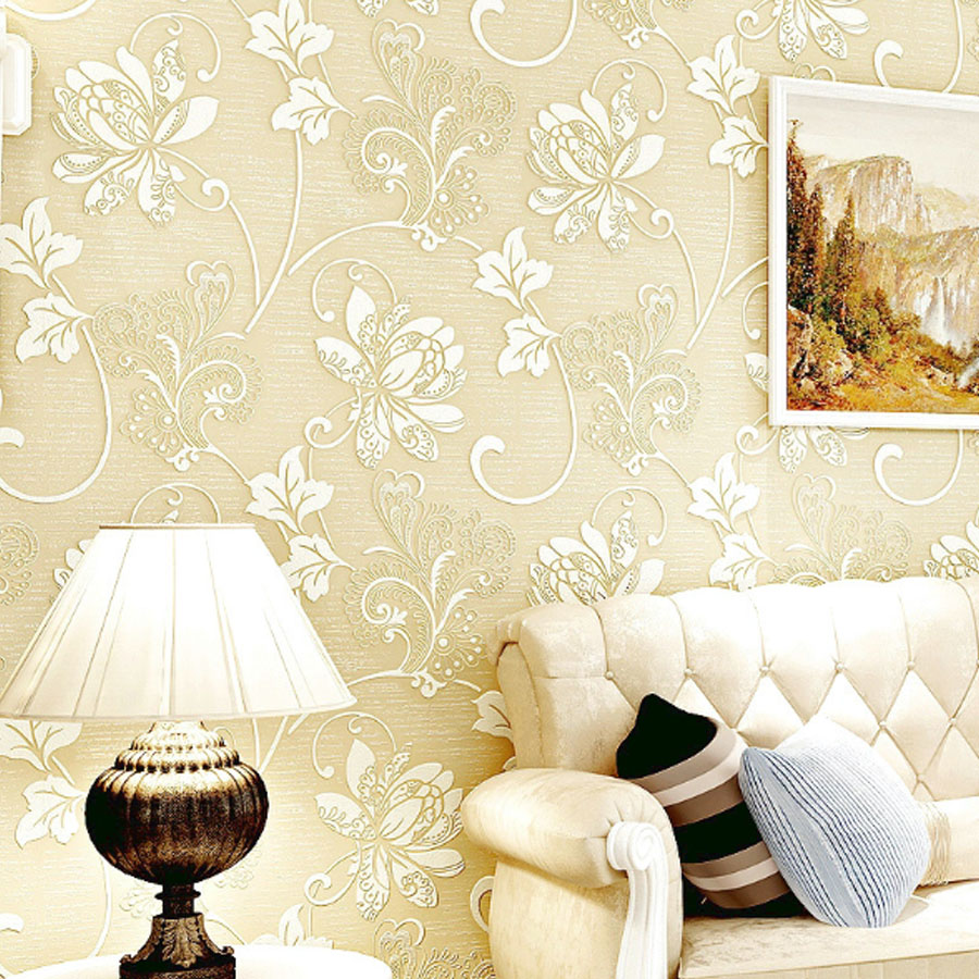 3D Floral Self Adhesive Non Woven Wallpaper Bedroom Living Room ...