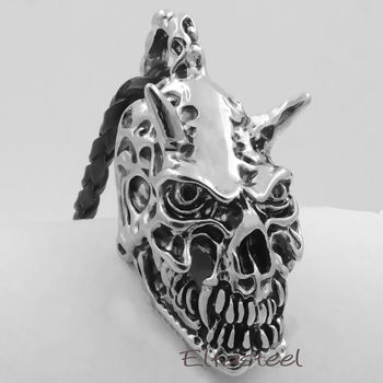 Demon Skull Devil Pewter Biker Men/'s Boy/'s Pendant with 20 inch Necklace P292