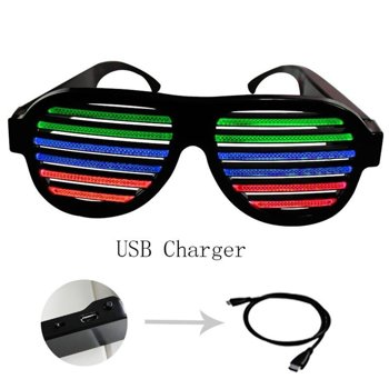 shades and glasses  Xmas LED musical shades Sound Music Light Up El Wire Party Glasses ...