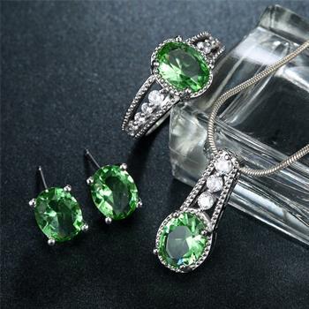 Women Jewelry Sets 925 Silver Light green Crystal Earrings Necklace ... dd484ff7012c