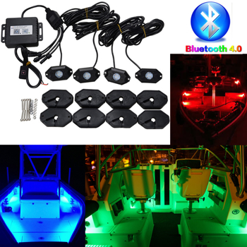 Boat RGB LED Bluetooth 4.0 remote control Music LED Rock Lights Waterproof IP68