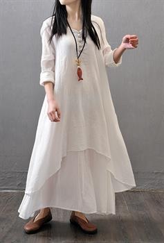 586f4b214f Muslim Women Kaftan Abaya Jilbab Islamic Girls Cotton Linen Loose Maxi Dress  New