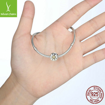 Authentic 925 Sterling Solid Friendship Flower Clip Charm,Clear CZ With 14k Gold