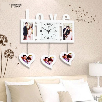 Lover Picture Frame Wall Clock Modern Clocks 5 Photos Living Room ...