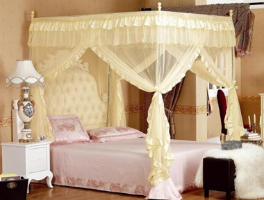 Hight QC 4 Corner Canopy & 4 Poster Princess Bed Canopy Mosquito Net Cal King Full Queen Twin ...